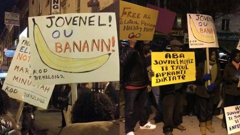 """Manifestation contre le candidat officiel Jovenel """" Nèg Bannann"""" Moïse à New-York"""